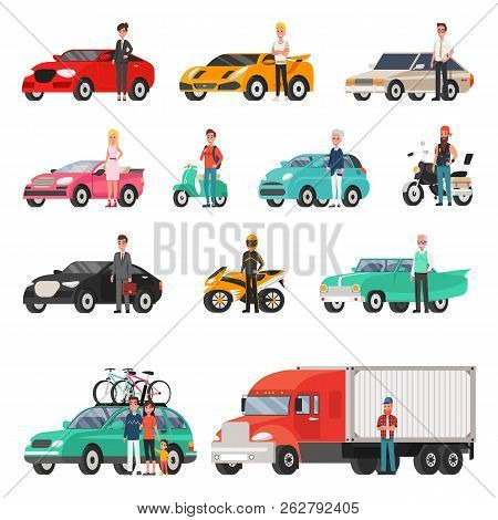 Modern Cars And Truck With Drivers Beside Set. Sport, Classic Or Family Vehicles, Happy Owners. Conv