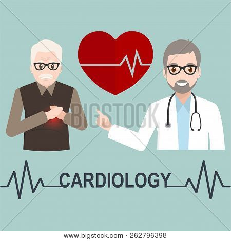 Heart Patient Elderly Male And Doctor With Cardiology Text Illustration, Medicine Sign Icon