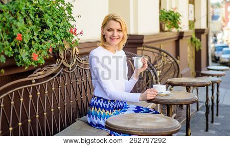 Daily Pleasant Rituals Make Life Better. Woman Have Drink Cafe Terrace Outdoors. Mug Of Good Coffee