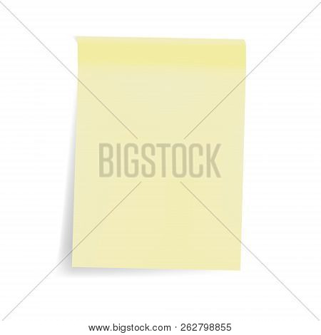 Empty Yellow Sticky Note Sheet, Vector Mock Up. Color Blank Self Stick Pad Isolated On White Backgro