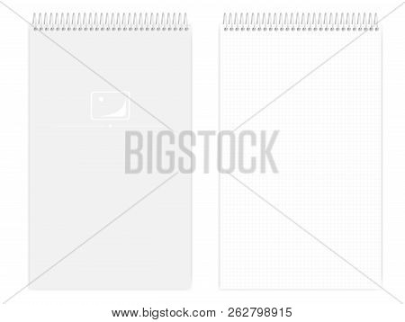Top Spiral Grid Lined Notebook, Realistic Vector Mockup. Wire Bound Legal Size Squared Paper Notepad