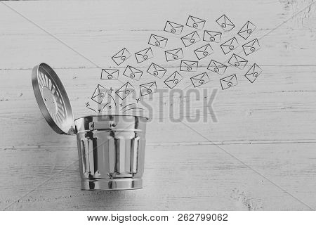 Group Of Emails Going Into The Bin, Metaphor Of Spam Or Clearin Up Your Inbox