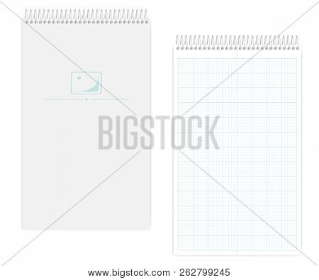 Top Spiral Notebook With Metric Field Rule Sheets, Realistic Vector Mockup. Wire Bound Legal Size Sq