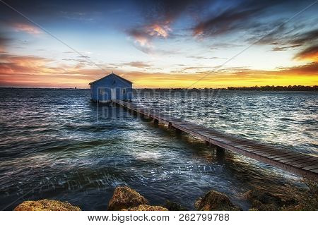 Sunset At The Crawly Boat Shed In Perth