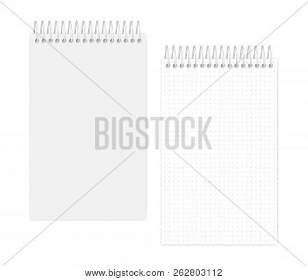 Top Spiral Dot Grid Notebook: Page And Cover, Realistic Vector Mockup. Wire Bound Junior Legal Size