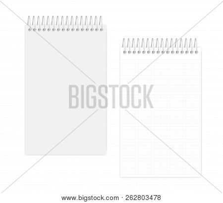 Top Spiral Junior Legal Size Notebook, Realistic Vector Mock Up. Wire Bound Squared Paper Notepad, M
