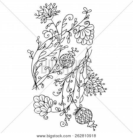 Monochrome Hand Drawn Decorative Floral Element Coloring Page, Antistress, Print, Tattoo Stock Vecto