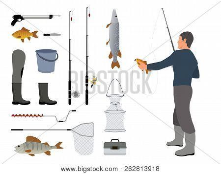 Fishing Man Holding Fish Catched On Rod With Bait Help. Items Related To Hobby Of Person. Set Of Lan