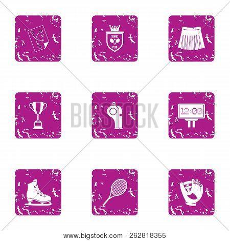 Unsportsmanlike Conduct Icons Set. Grunge Set Of 9 Unsportsmanlike Conduct Icons For Web Isolated On