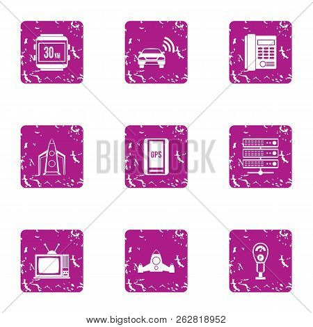 Contemporary City Icons Set. Grunge Set Of 9 Contemporary City Icons For Web Isolated On White Backg