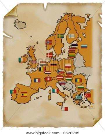Old Map Of Europe. Parchment.