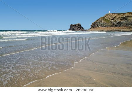 Atlantic waves breaking on Portreath beach in Cornwall UK.