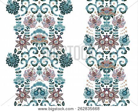 Fantastic Ornament With Fantasy Flowers. Vector Set Of Oriental Striped Ornaments. Decorative Orname
