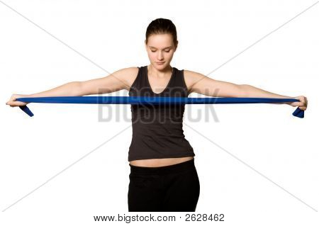 Young Girl With A Resistance Band