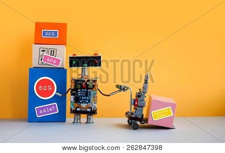Special Offer Big Sales Discount Promotion Poster. Funny Robot With Shopping Cart And Boxes, Discoun