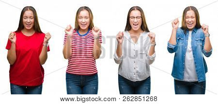 Collage of young beautiful girl over white isolated background excited for success with arms raised celebrating victory smiling. Winner concept.