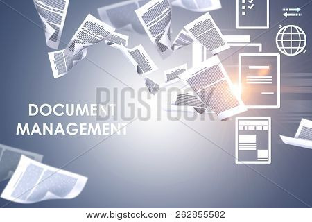 Document Management Text Over Gray Background With Papers Swirling Around And Electronic Document Ic