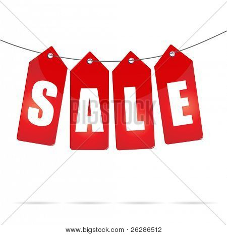 sale labels on rope poster