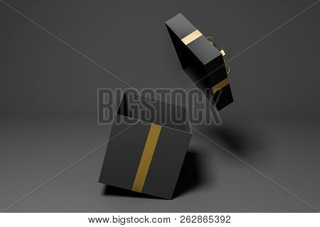 Open Black And Gold Present Box