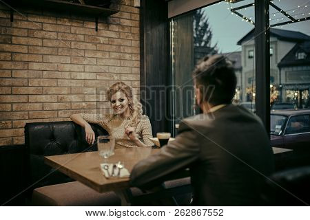 Proposal And Anniversary. Business Meeting Of Man And Woman. Valentines Day With Sexy Woman And Bear