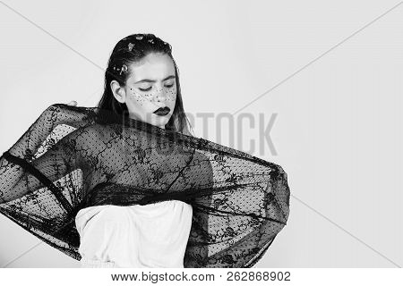 Cute Woman Or Pretty Girl With Creative Makeup, Dark Lips Golden Freckles, Foil On Adorable Face And
