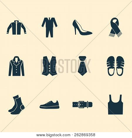 Clothes icons set with sleeveless tank, necktie, gumshoes and other singlet elements. Isolated vector illustration clothes icons. poster