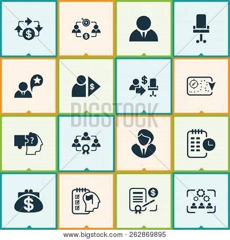 Business Management Icons Set With Cash Flow, Business Strategy, Self-organization And Other Manager