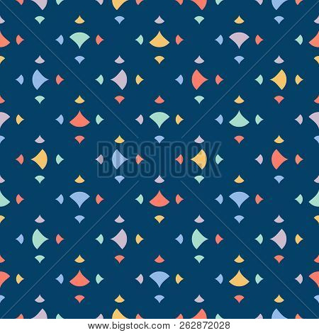 Cute Colorful Abstract Geometric Seamless Pattern With Small Triangles, Petals, Dots, Confetti On Bl