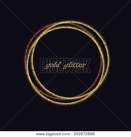 Golden Circles .decoration Design Element Of Gold Foil Gilding Texture. Festive Background For New Y