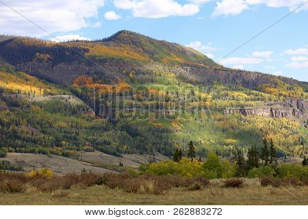 Beautiful Fall Foliage In Historic Silverton In Colorado