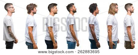 Collage of young caucasian, hispanic, afro men wearing white t-shirt over white isolated background looking to side, relax profile pose with natural face with confident smile.