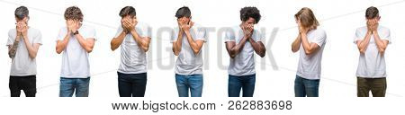Collage of young caucasian, hispanic, afro men wearing white t-shirt over white isolated background with sad expression covering face with hands while crying. Depression concept.