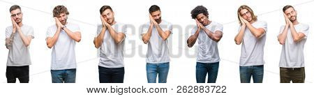 Collage of young caucasian, hispanic, afro men wearing white t-shirt over white isolated background sleeping tired dreaming and posing with hands together while smiling with closed eyes.
