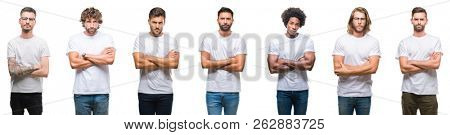 Collage of young caucasian, hispanic, afro men wearing white t-shirt over white isolated background skeptic and nervous, disapproving expression on face with crossed arms. Negative person.