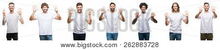 Collage of young caucasian, hispanic, afro men wearing white t-shirt over white isolated background showing and pointing up with fingers number nine while smiling confident and happy.