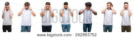 Collage of young caucasian, hispanic, afro men wearing white t-shirt over white isolated background with hand on head for pain in head because stress. Suffering migraine.