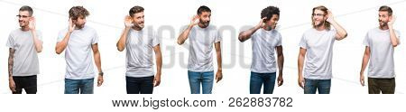Collage of young caucasian, hispanic, afro men wearing white t-shirt over white isolated background smiling with hand over ear listening an hearing to rumor or gossip. Deafness concept.