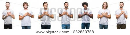 Collage of young caucasian, hispanic, afro men wearing white t-shirt over white isolated background smiling with hands on chest with closed eyes and grateful gesture on face. Health concept.