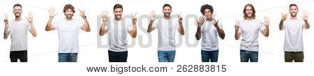 Collage of young caucasian, hispanic, afro men wearing white t-shirt over white isolated background showing and pointing up with fingers number seven while smiling confident and happy.