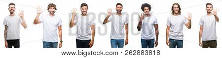 Collage of young caucasian, hispanic, afro men wearing white t-shirt over white isolated background showing and pointing up with fingers number five while smiling confident and happy.