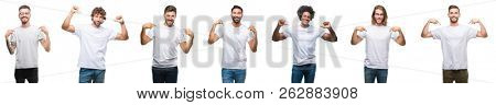 Collage of young caucasian, hispanic, afro men wearing white t-shirt over white isolated background looking confident with smile on face, pointing oneself with fingers proud and happy.