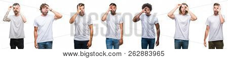 Collage of young caucasian, hispanic, afro men wearing white t-shirt over white isolated background doing ok gesture shocked with surprised face, eye looking through fingers. Unbelieving expression.