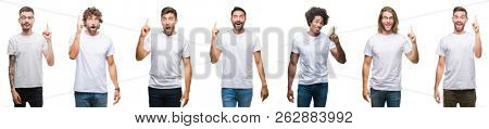 Collage of young caucasian, hispanic, afro men wearing white t-shirt over white isolated background pointing finger up with successful idea. Exited and happy. Number one.