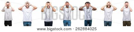 Collage of young caucasian, hispanic, afro men wearing white t-shirt over white isolated background doing ok gesture like binoculars sticking tongue out, eyes looking through fingers. Crazy expression