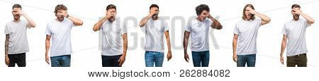 Collage of young caucasian, hispanic, afro men wearing white t-shirt over white isolated background peeking in shock covering face and eyes with hand, looking through fingers embarrassed