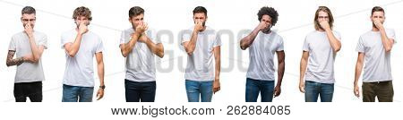 Collage of young caucasian, hispanic, afro men wearing white t-shirt over white isolated background smelling something stinky and disgusting, intolerable smell, holding breath with fingers on nose.