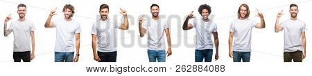 Collage of young caucasian, hispanic, afro men wearing white t-shirt over white isolated background smiling and confident gesturing with hand doing size sign with fingers while looking and the camera.