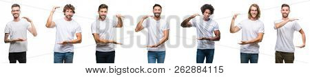 Collage of young caucasian, hispanic, afro men wearing white t-shirt over white isolated background gesturing with hands showing big and large size sign, measure symbol. Smiling looking at the camera.