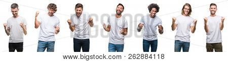 Collage of young caucasian, hispanic, afro men wearing white t-shirt over white isolated background very happy and excited doing winner gesture with arms raised, smiling and screaming for success.