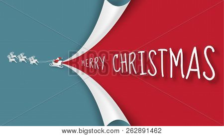 Merry Christmas And Happy New Year Background. Santa Claus, Snowman And Christmas Tree ,paper Art An